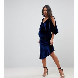 ASOS MATERNITY Velvet Midi Bodycon Dress with Asymmetric Hem - Navy
