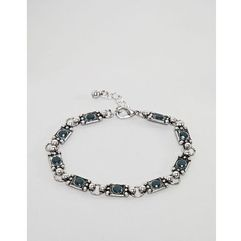 chain bracelet with stones in burnished silver - silver marki Asos design