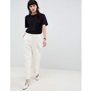 Selected wide legged cropped trouser - cream