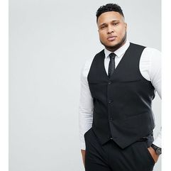 ASOS PLUS Slim Suit Waistcoat In Black - Black, kolor czarny