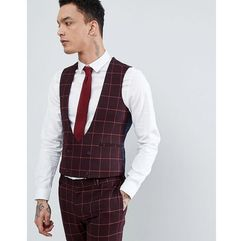 design wedding super skinny suit waistcoat in wine and orange grid check - red, Asos