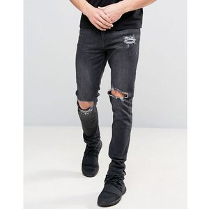 Kubban washed black skinny jeans with knee rips - black
