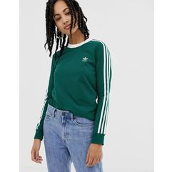 adicolor three stripe long sleeve t-shirt in green - green, Adidas originals