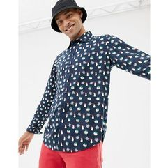 Another Influence Christmas Pattern Long Sleeve Shirt - Navy, kolor szary