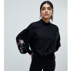 Vero Moda Tall High Neck Top With Embroidered Sleeves - Black, kolor czarny
