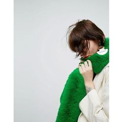 Asos faux fur bright green scarf - green