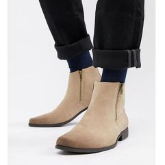Asos design chelsea boots in stone faux suede with zips - stone