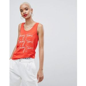 Tommy Jeans Vest Top With Scribble Logo - Red