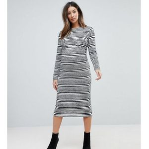 twist back bodycon dress in stripe - grey marki Asos maternity