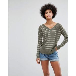 Soaked In Luxury Stripe V-Neck Jumper - Green, kolor zielony