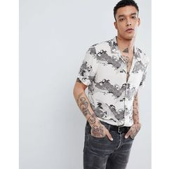 AllSaints Short Sleeve Revere Shirt With Wave Print - Cream