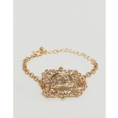 Asos design bracelet with vintage style filigree icon square pendant in gold - gold