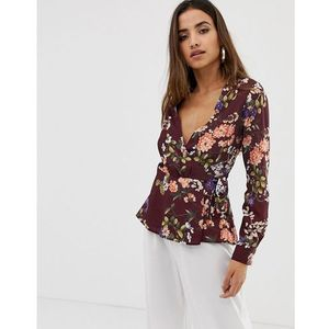 Love long sleeve wrap floral wrap top - Red