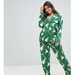 Asos design curve banana leaf 100% modal traditional shirt & trouser pyjama set - multi marki Asos curve