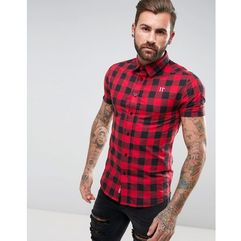 11 Degrees Muscle Shirt In Red Gingham Check - Red, 1 rozmiar