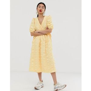 wrap textured smock dress - yellow marki Asos white