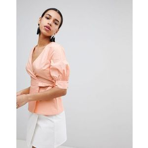 wrap front top with balloon sleeves - orange, Fashion union
