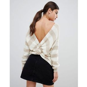 Prettylittlething twist back jumper in stripe - cream