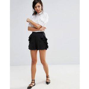 shorts with frill detail - black marki Fashion union