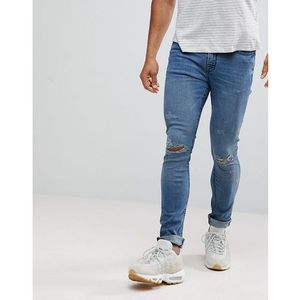 super skinny jeans in mid blue with unrolled hem - blue, Hoxton denim