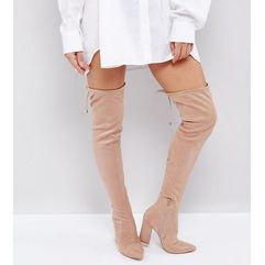 ASOS KARMA Pointy Over The Knee Boots - Beige, kolor beżowy