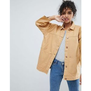 Monki pocket detail denim trucker jacket - yellow