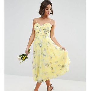 wedding rouched midi dress in sunshine floral print - yellow marki Asos petite