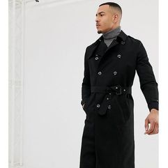 Asos design tall shower resistant longline trench coat with belt in black - black