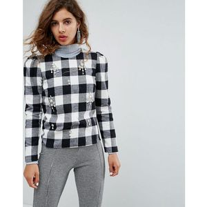 H! By Henry Holland Embellished Top In Check - Black