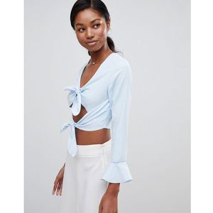 Love Double Tie Long Sleeve Crop Top - Blue, w 3 rozmiarach