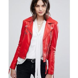 Lab leather jacket with asymmetric zip - red