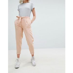 Pull&bear tie waist tapered trouser in pink - pink