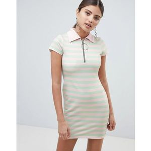 PrettyLittleThing zip front polo dress in stripe - Pink, kolor różowy