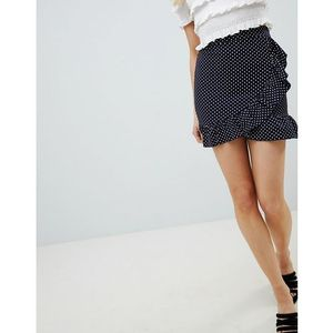 polka dot frill wrap skirt - navy, Lasula