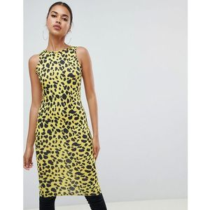 Prettylittlething yellow leopard print midi dress - yellow