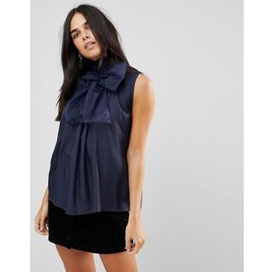 Traffic People High Neck Chiffon Top With Bow Detail - Navy