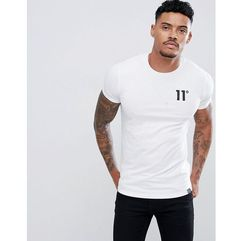 11 Degrees muscle fit t-shirt in white with logo - White