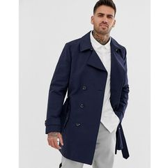 ASOS DESIGN shower resistant double breasted trench in navy - Navy