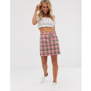 mini skirt with clear chain in check - pink, Daisy street