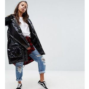 ASOS PETITE Wet Look Parka - Black, kolor Black