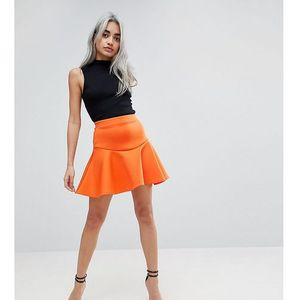 Asos petite scuba mini skirt with frill - orange