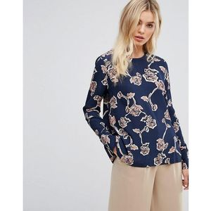 Y.A.S Floral Printed Top - Blue, kolor niebieski