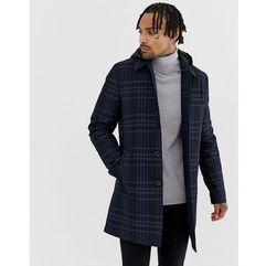 ASOS DESIGN trench coat in navy check with removable hood - Navy, kolor szary
