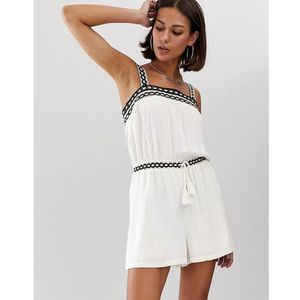 Bershka woven detail playsuit in white - White