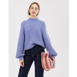 Weekday wide sleeve knitted jumper in light blue - Blue, w 4 rozmiarach