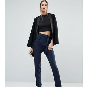 woven peg trousers with obi tie - navy marki Asos tall