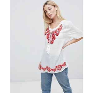 Brave soul woodstock embroidered tunic top - red