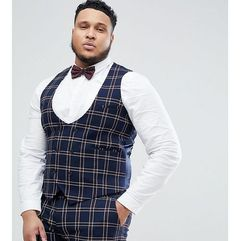 ASOS DESIGN Plus Wedding Super Skinny Suit Waistcoat In Navy Waffle Check - Navy, kolor szary