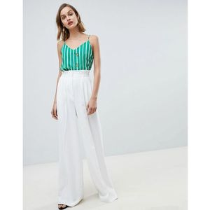 Mango wide leg tailored trouser in white - white