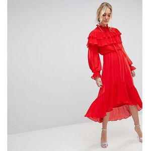Yas Tall Gaho Tiered Ruffle Maxi Dress With Pussybow Collar - Red, w 2 rozmiarach
